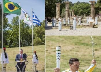 La flamme des Jeux olympiques de «Rio 2016» a été allumée le 21 avril 2016 dans l'ancienne Olympie, Grèce. C'était au cours d'une cérémonie organisée par le Comité olympique hellénique.