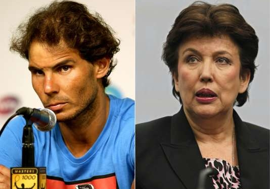 (FILES) (COMBO) This combination of pictures created on April 25, 2016 shows (from L) Spain's Rafael Nadal looking on during a press conference after retiring from a match during the Miami Open in Key Biscayne on March 26, 2016 and France's then Solidarity and Social Cohesion Minister Roselyne Bachelot addressing a press conference in Berlin on February 3, 2011. Former French sports minister Roselyne Bachelot was sentenced to a suspended fine of 500 euros for defamation after she accused Spain's tennis player Rafael Nadal of doping during a television show last year.  / AFP / GETTY IMAGES NORTH AMERICA / DAVID GANNON AND MATTHEW STOCKMAN
