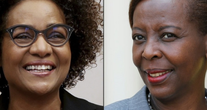 (COMBO) This combination of file pictures created on June 07, 2018 shows the general secretary of the Francophony organization (Organisation internationale de la Francophonie - OIF) Michaelle Jean (L)  at the OIF headquarters in Paris on April 16, 2018, and Rwandan Foreign Affairs minister Louise Mushikiwabo and candidate for the presidency of the International Organisation of La Francophonie (OIF) arriving at the Elysee palace to meet the French president on May 23, 2018. Threatened at the head of the Francophonie by a Rwandan competitor supported by France, the Quebecois Michaelle Jean counter-attacks and defends her record on promoting the French language in her first interview since the submission of this application. / AFP PHOTO / FRANCOIS GUILLOT AND ludovic MARIN