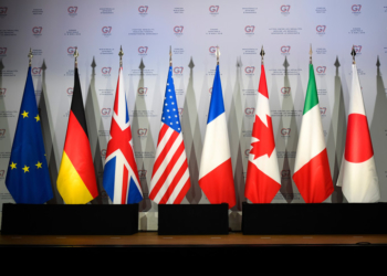 (FILES) A file photo taken on April 5, 2019 shows flags of European Union, Germany, United-Kingdome, the United States of America, France, Canada, Italy and Japan during a meeting to prepare the G7 Summit in Biarritz which will take place from August 25 to 26, 2019, in Dinard. - The Basque city of Biarritz will host the G7 summit from August 24 until August 26, 2019. (Photo by Damien MEYER / AFP)